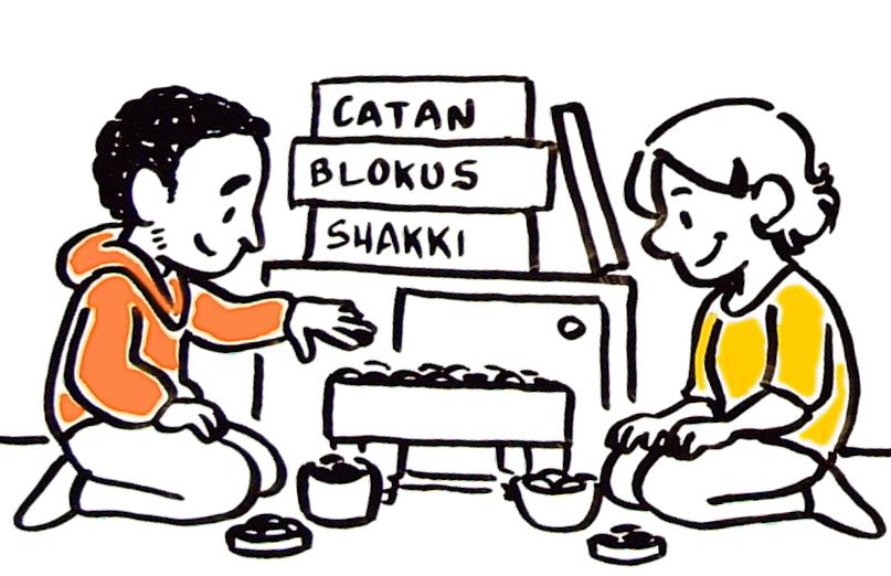 Kuvituskuva: Lautapelejä pelaavat nuoret